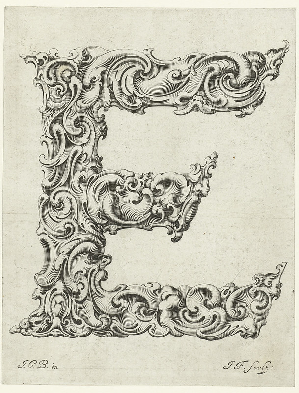 Letter 'E' designed by Jan Chrystian Bierpfaff, 17th century)