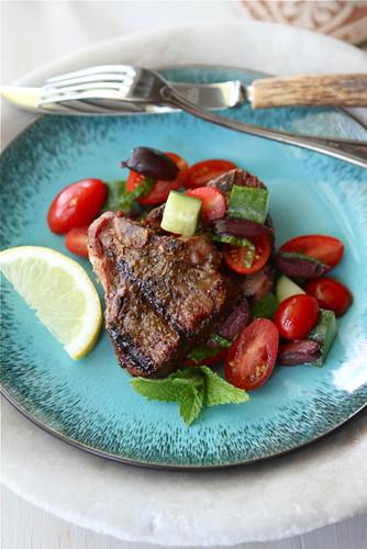 Greek Grilled Lamb Chops Recipe with Tomato, Cucumber & Kalamata Olive Salad