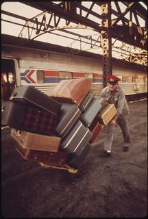 Redcap unloading baggage at Union Station in Kansas City Missouri, June 1974