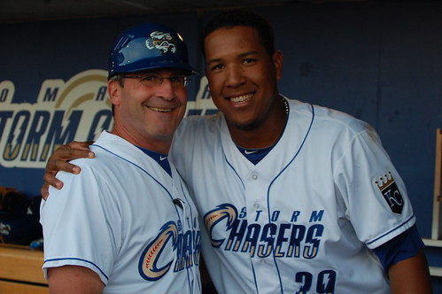Salvador Perez mugging with Omaha manager Mike Jirschele