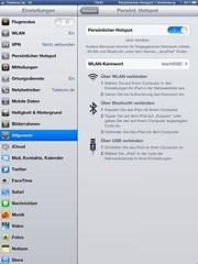 Persönlicher Hotspot (Apple iPad): Aktiviert und verbunden