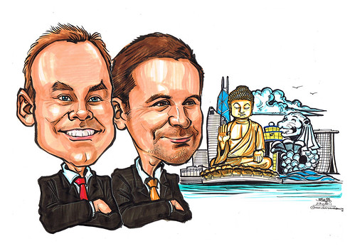 Caricatures for banner - Hong Kong and Singapore landmarks