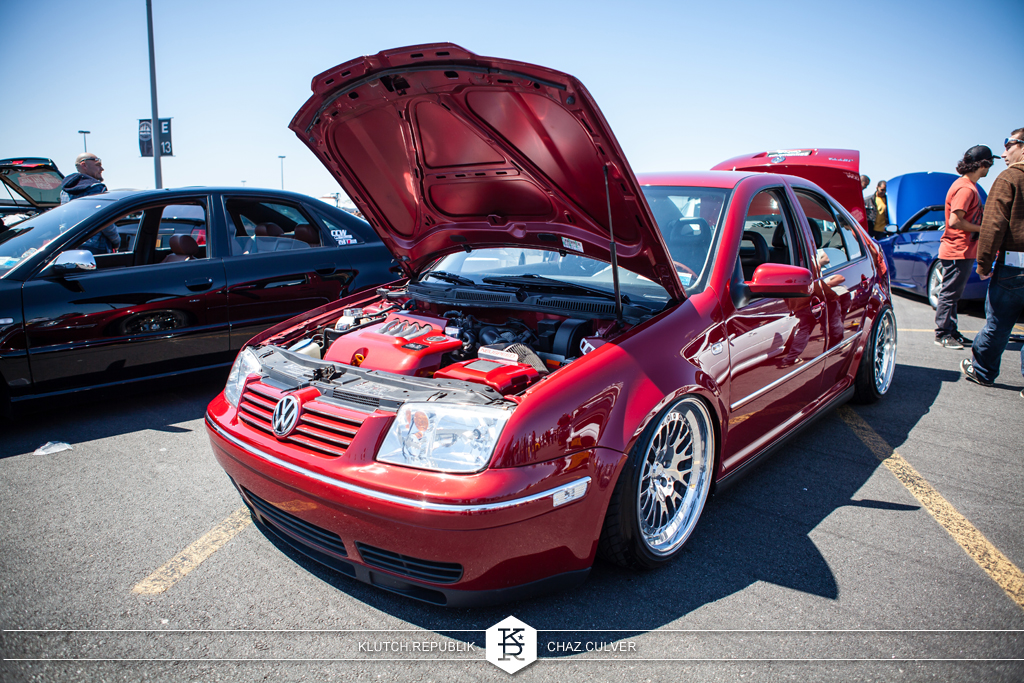 spice red mk4 jetta low and fitted on airride and ccw classics at eurofest 2012