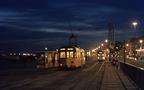 Blackpool Brush car 626 by night. 1972.
