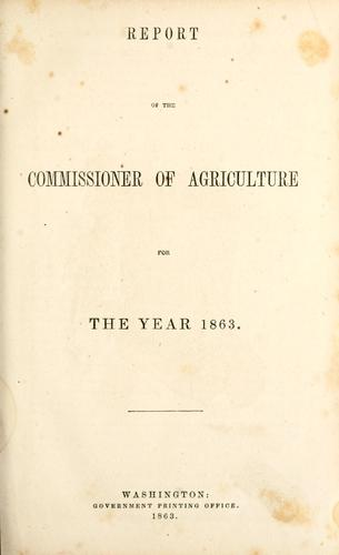 Report cover from the Division of Statistics, 1863