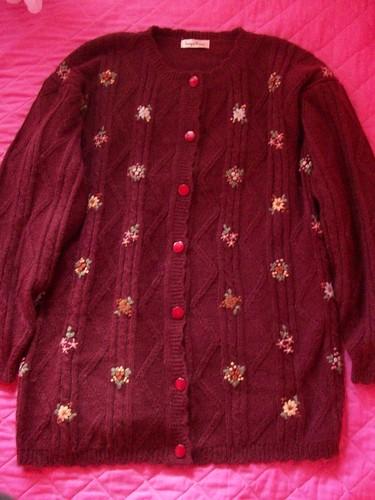 wine button sweater