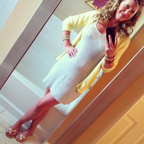 Friday's ootd: Yellow and gray!  Tank dress VS, cardi Old Navy, flips Target, bracelets Charming Charlie, necklace gifted.