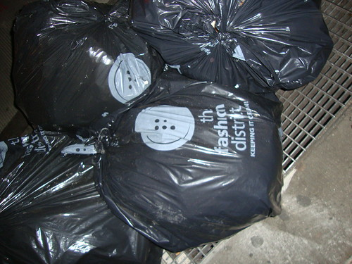 even the garbage bags are branded in the fashion district