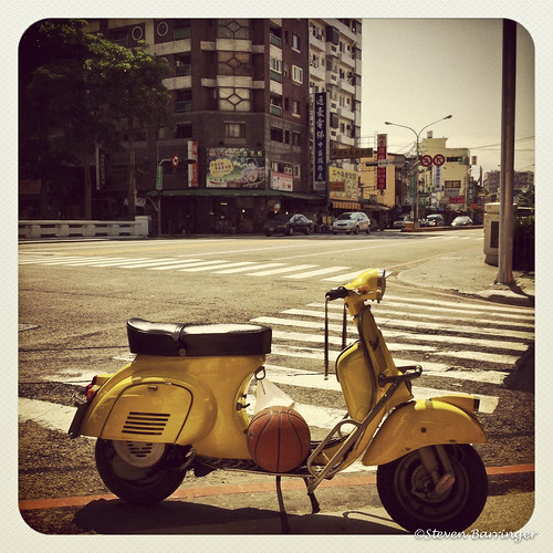 yellow vespa with basketball by zosoiv71