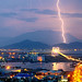 Lightning strikes over Danang city