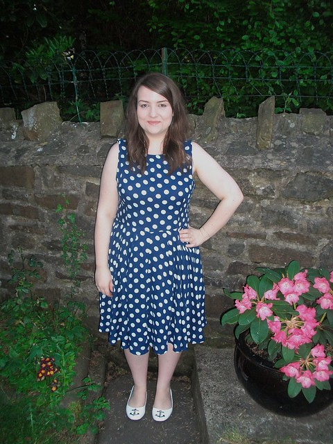 navy blue and white polka dot dress