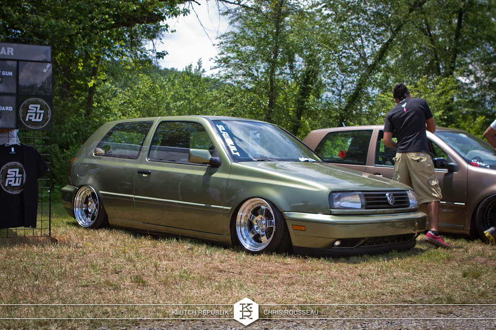 slawbuilt mk3 gti on airride and full polished ccw lm5 wheels at southern worthersee 2012