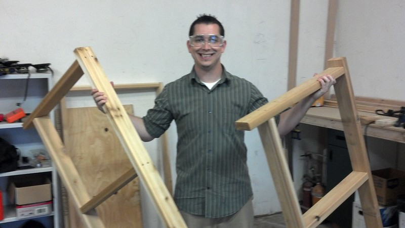 Ellery holding the completed middle and bottom frames