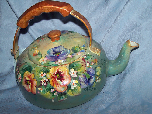 Recycled Vintage Tea-pot with Violets