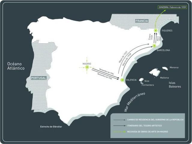 Mapa de España, con el itinerario y fechas de los sucesivos traslados del tesoro artístico evacuado, con indicación de los cambios de la sede del Gobierno de la República.