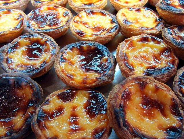 Hot and fresh Portuguese custard tarts, Lisbon, Portugal