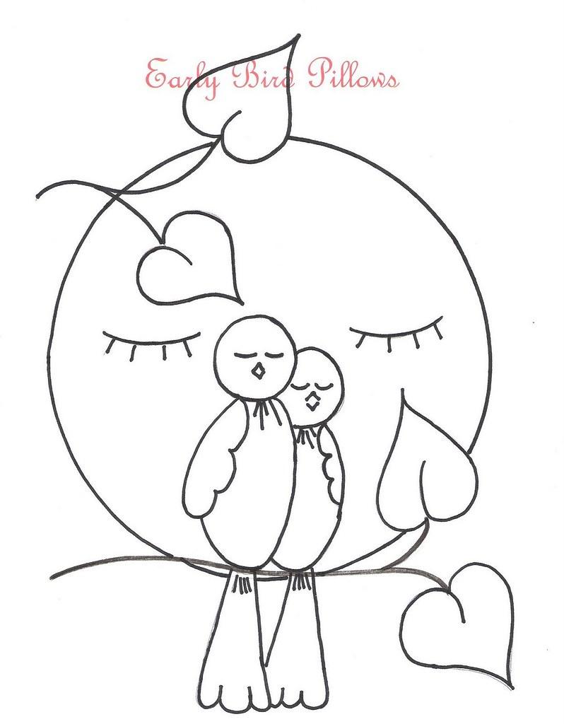 Şablonlu Kuş Temalı İşleme Yastıklar