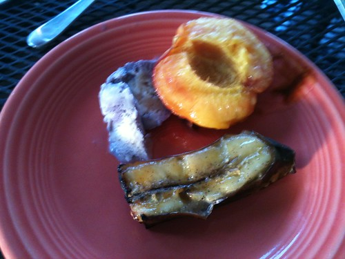 Grilled peach and banana