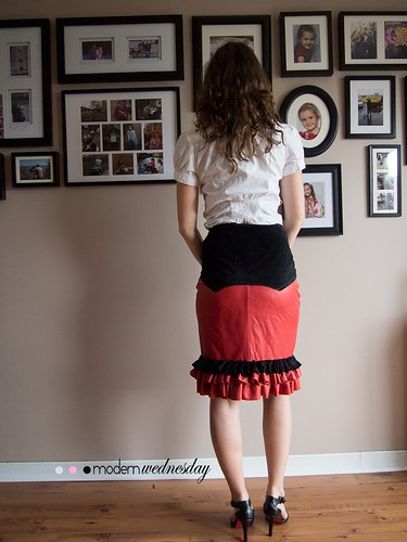 Recycled Leather Skirt Back Ruffles