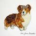 QUEEN CORGI bead embroidery art pin - royal beaded dog jewelry for humans:)