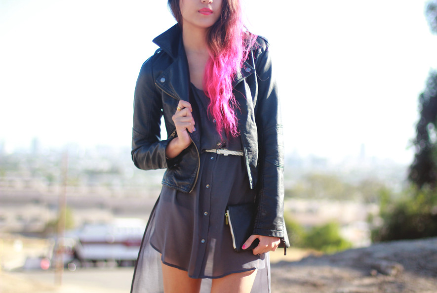 Vegan leather bomber jacket c/o sheinside.com, sheer chiffon high-low dress, pink ombre dip dyed hair, American Apparel leather zip clutch by Joellen Lu