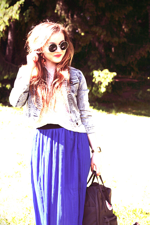 denim jacket, maxi skirt, round sunglasses