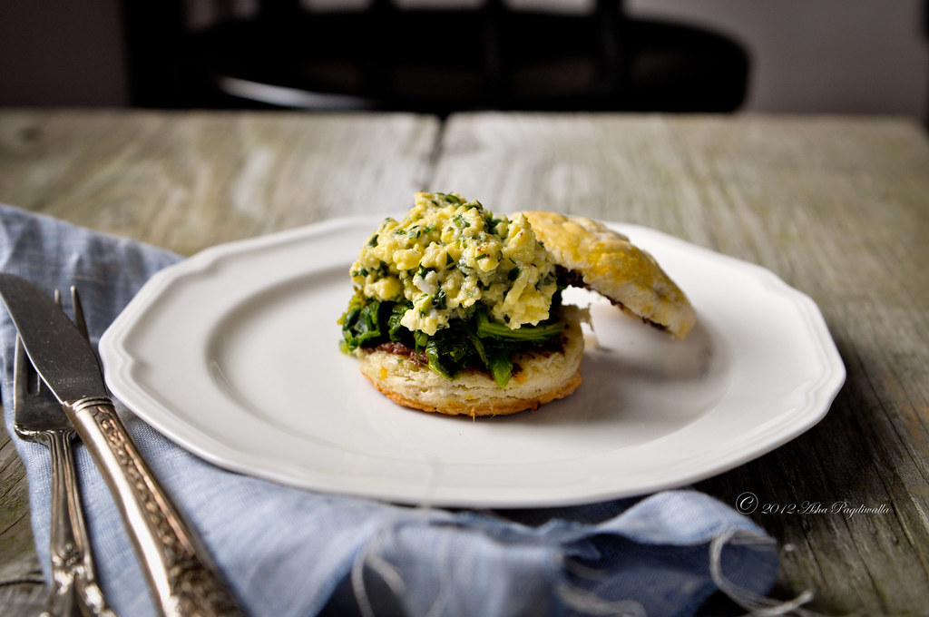Egg sandwich - chives scrambled egg, spinach on scone