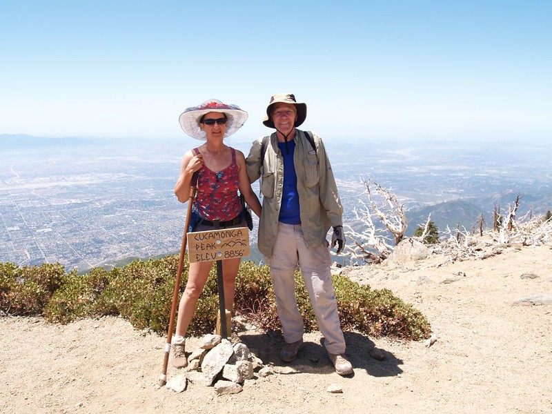 Vicki and I on the Cucamonga Peak Summit - elevation 8856 feet