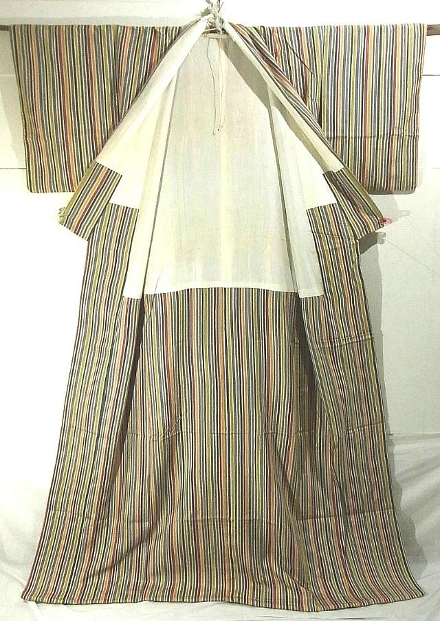 Tsumugi Geisha Striped Susohiki