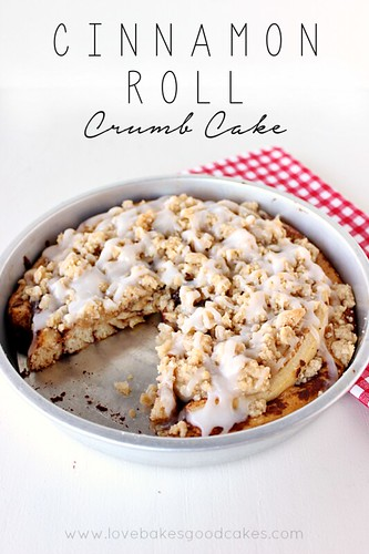 This Cinnamon Roll Crumb Cake starts with canned cinnamon rolls - but you make it extra special with a homemade crumb topping! Perfect for Easter breakfast! #CinnamonRolls #easter