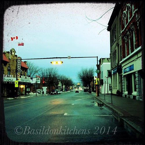 28/3/2014 - street cleaner {at this early hour (7:00 AM) the Main St looks pretty clean for this time of year} #photoaday #picton #mainstreet #princeedwardcounty #regenttheatre #spring #rain #smalltowncharm