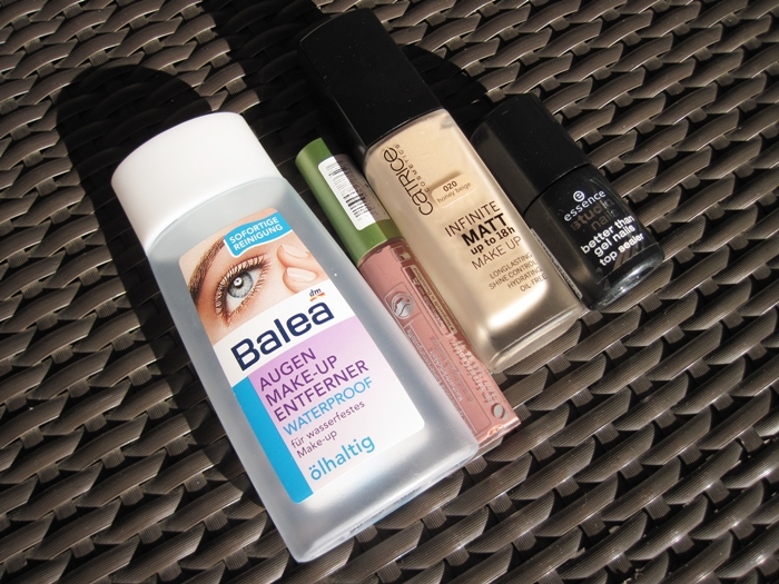 Balea augen make-up entferner waterproof | alverde Lipgloss 229 Pinky Brown | catrice infinite matt make up | essence better than gel nails top sealer