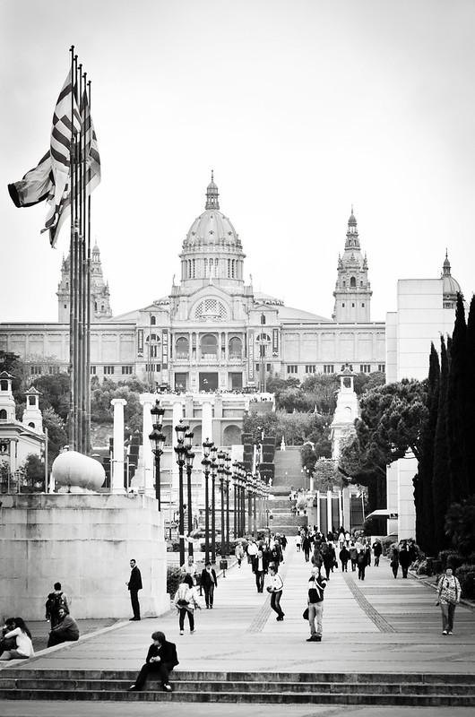 Barcelona's bustling Palau Nacional in Montjuïc.