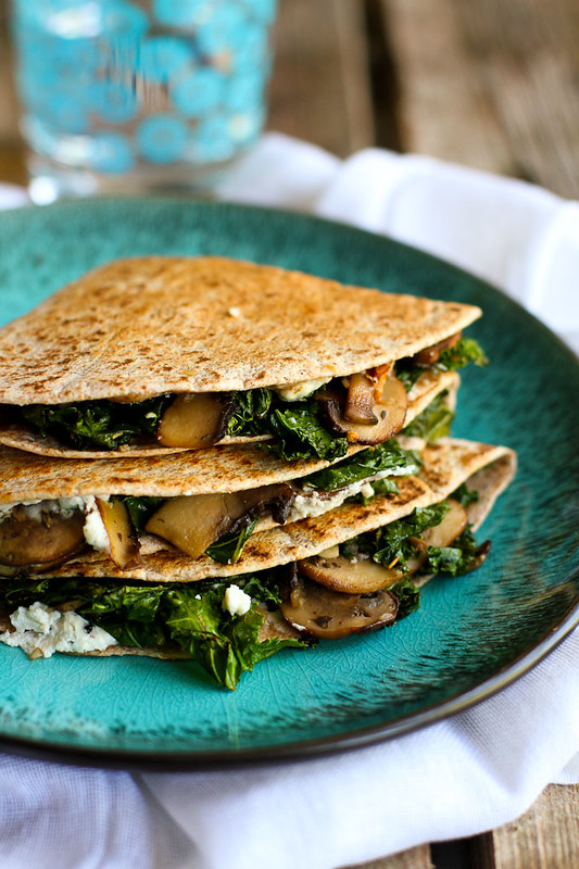 Kale, Mushroom and Goat Cheese Quesadillas…A fantastic vegetarian recipe for lunch or appetizers! 239 calories and 7 Weight Watchers Freestyle SP #vegetarian #quesadilla #kale