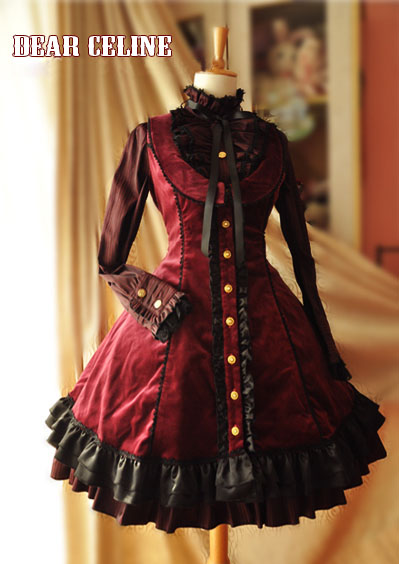 Dear_Celine_Winter_Formal_Low_Collar_Front_Opening_Velvet_Lolita_Dress