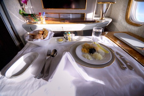 Emirates First Class A380 lunch