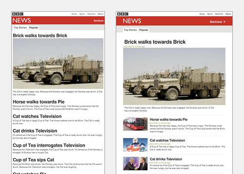 BBC Responsive News front page example