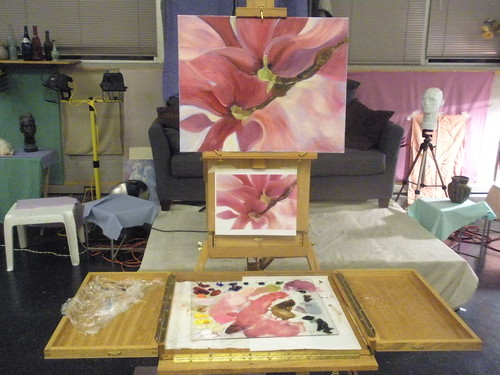 Magnolia Painting in Studio