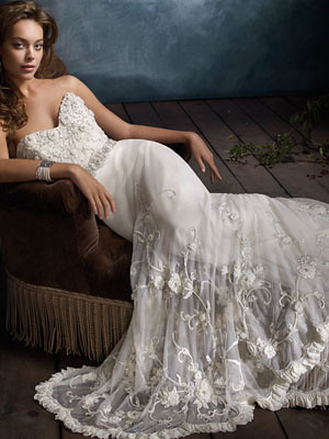 ivory hand beaded embroidered sweetheart bridal gown
