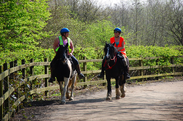 Two horse riders in high viz