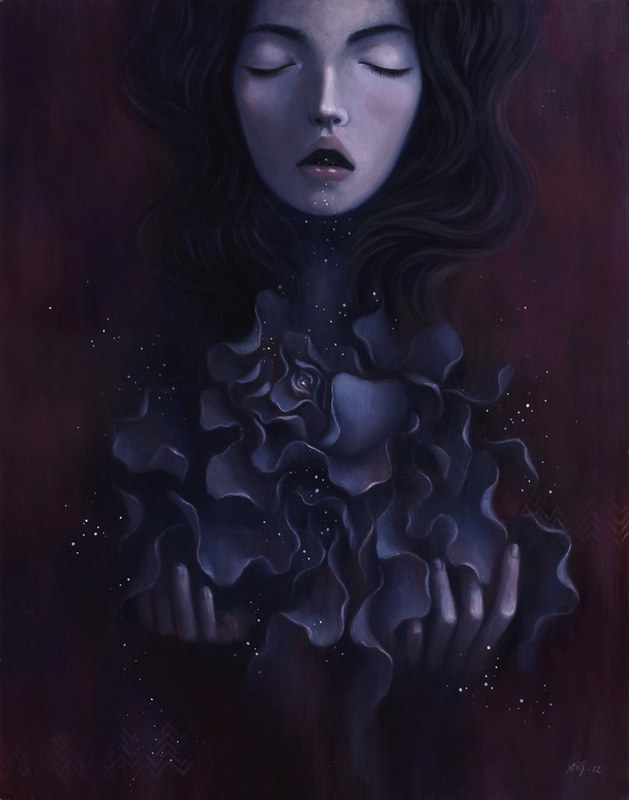 "Broken Flower. 14""x18"". Oil on Wood. © 2012."