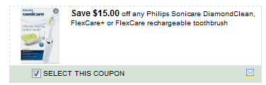 Philips Sonicare Diamondclean, Flexcare+ Or Flexcare Rechargeable Toothbrush Coupon