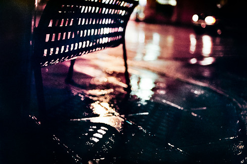street bench rain night | Nikon FE | Nikkor 50mm 1.4 AiS | Fuji Superia 800 35mm film