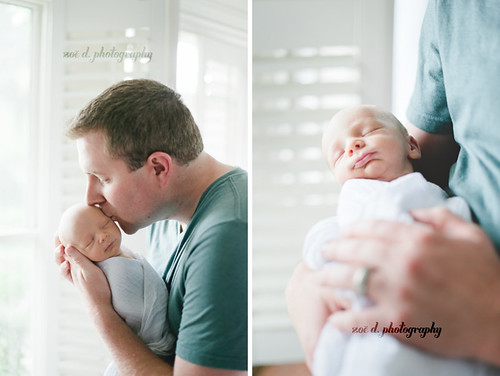 father and son newborn baby photo session in home