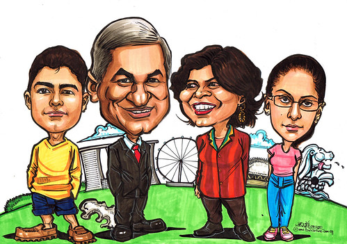 Farewell family caricatures for Standard Chartered Bank