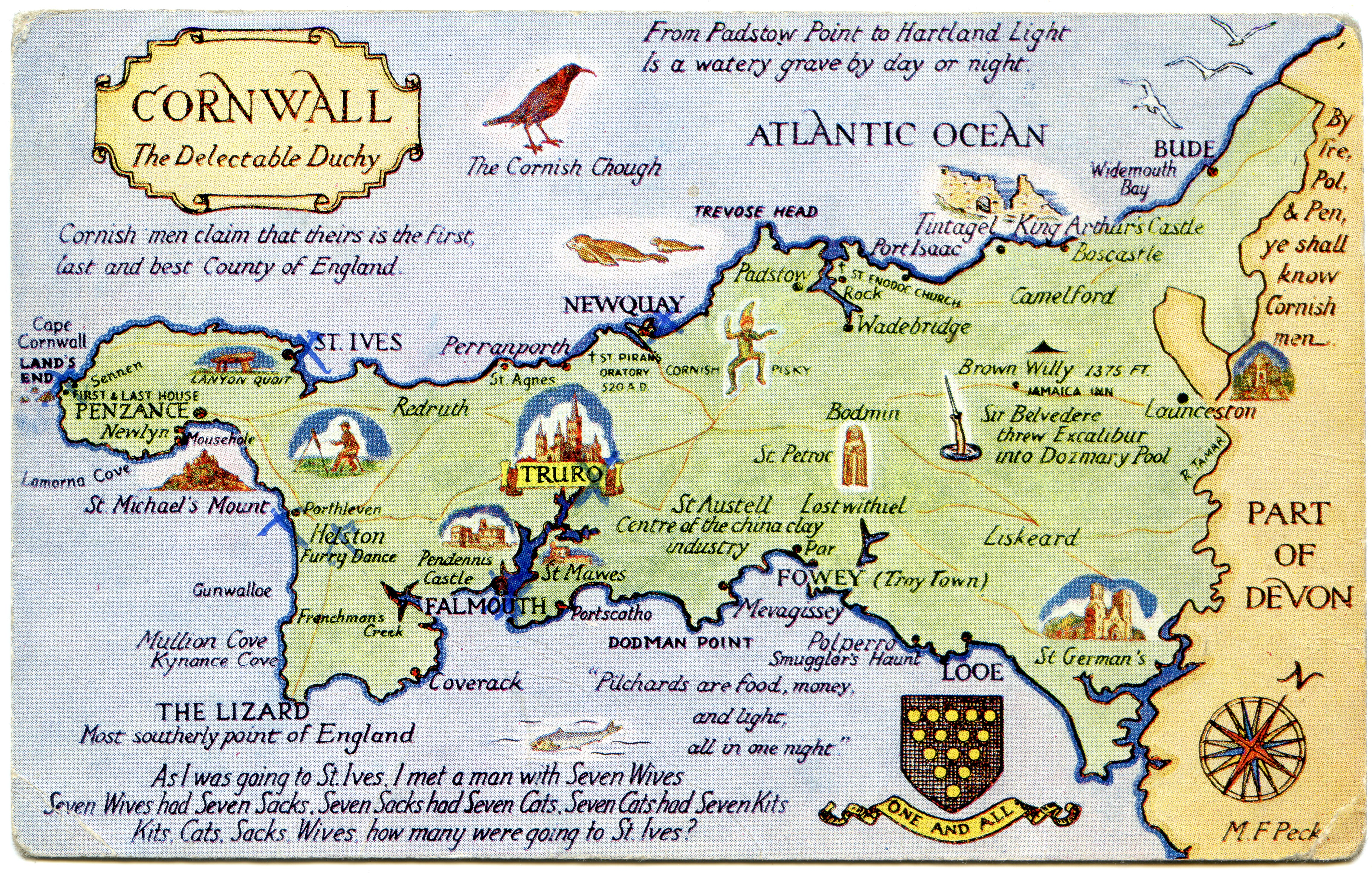 postcard map of cornwall  the delectable duchy