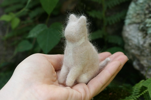 Needle Felted Cat Figure with Real Cat Hair and Wool