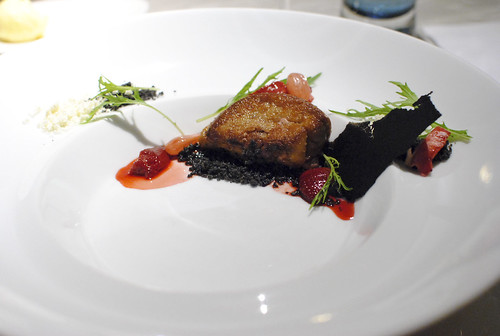Foie Gras Sauté with Grilled and Partial Dehydrated Strawberries
