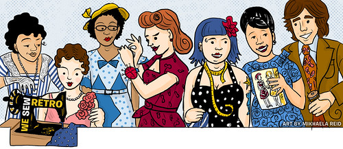 We Sew Retro Facebook Timeline Illustration