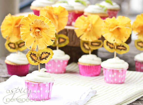 12 ASpicyPerspective-Pina Colada Pineapple Kiwi Dried Fruit Flower Cupcake Toppers Idea